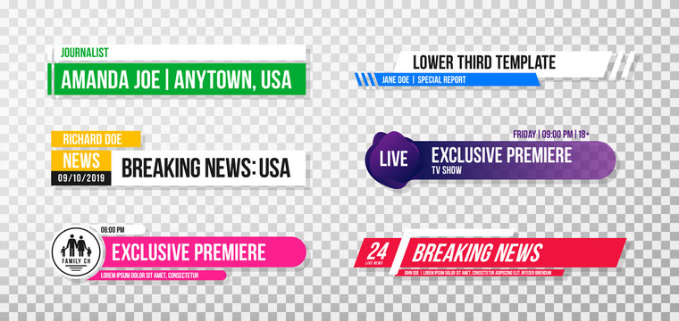 Lower third template. Set of TV banners and bars for news and sport channels, streaming and broadcasting. Collection of lower third for video editing on transparent background