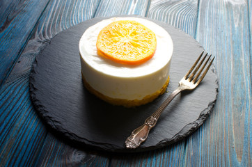 Cheesecake with oranges and dried apricots for dessert