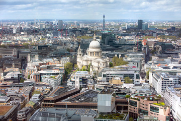 London, UK. St. Paul's cathedral and West London panoramic  view