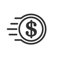 Fast coin dollar icon – stock vector