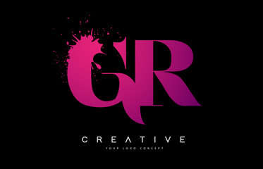 Purple Pink GR G R Letter Logo Design with Ink Watercolor Splash Spill Vector.