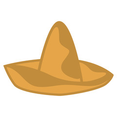 Isolated traditional brown mexican hat image - Vector