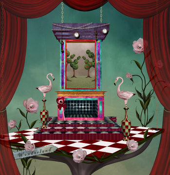 Surreal stage inspired by Alice in wonderland fairytale – 3D illustration