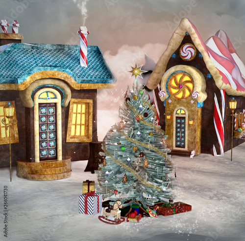 Gingerbread Village With Christmas Tree 3d Illustration Stock