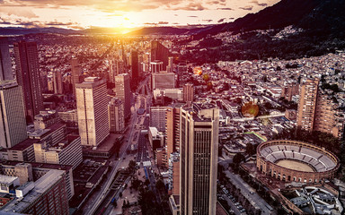 Panoramic aerial view of downtown Bogota Colombia A