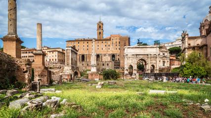 Fototapete - Panorama of old Roman Forum, Rome, Italy
