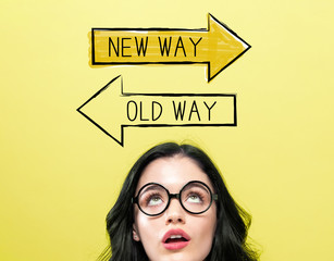 Old way or new way with young woman wearing eye glasses