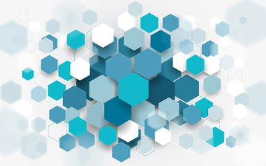Wall Mural - Abstract blue and white hexagons background. Technology digital hi tech concept