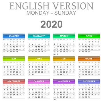 2020 Calendar English Language Monday to Sunday