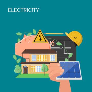 Solar panels electricity concept vector flat illustration