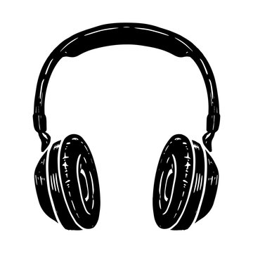 Hand drawn illustration of headphones isolated on white background. Design element for poster, t shirt, card, emblem, sign, badge.