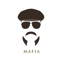 Mafioso man portrait. Man in ivy cap and sunglasses. Vector illustration.