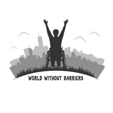 Man in wheelchai silhouette. Vector disabled man.World without barriers.