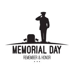 Memorial Day design with saluting soldier. USA patriotic illustration