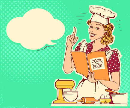 Young woman chef in retro style clothes cooking and holding cook book in her hand in the kitchen room. Vector vintage background for text