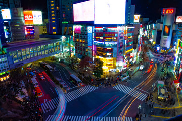 Night timelapse crossing at the neon town in Shibuya Tokyo high angle wide shot Wall mural