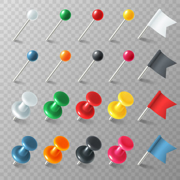 Pins flags tacks. Colored pointer marker pin flag tack pinned board pushpin organized announcement, realistic vector set