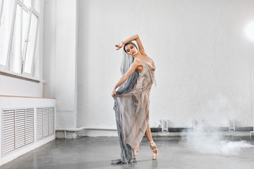 Modern ballet dancer in scenic flowing costume working out at studio during final reheasal . Art...