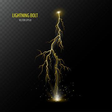 Yellow vertical thunder bolt
