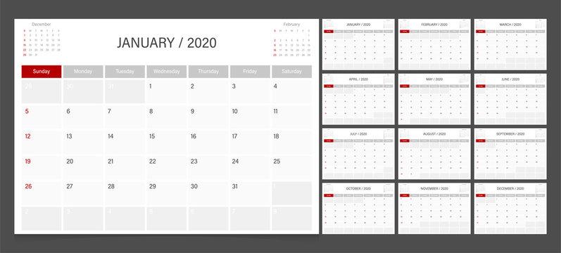 2020 calendar planner design template vector week start Sunday..