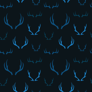 A seamless pattern of illustrated deer antlers