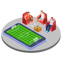 Men with beer watch football online isometric vector illustration. Watch sport match soccer isometric 3d smartphone