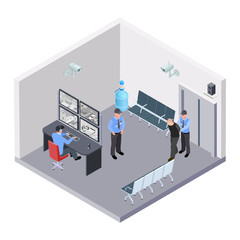 Security room in airport, railway or bus station isometric vector concept. Illustration of security room control, video monitor and guard