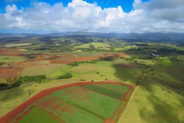 Lihue countryside aerial helicopter view, Kauai, Hawaii, USA
