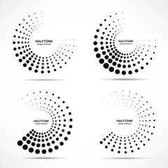 Wall Mural - Halftone dotted circle frame abstract dots logo emblem design element set. Half moon. Round border Icon using halftone circle dots raster texture. Vector collection.