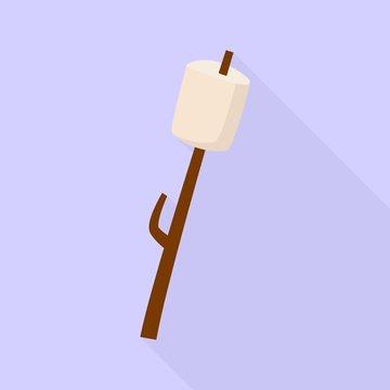 Marshmallow on wood stick icon. Flat illustration of marshmallow on wood stick vector icon for web design