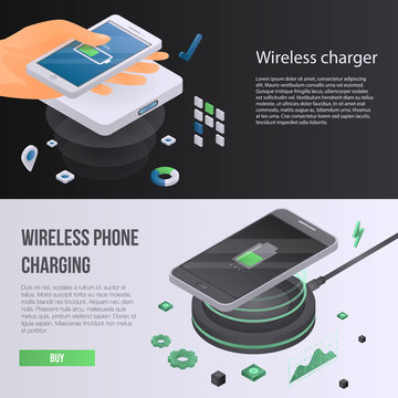 Wireless charger phone banner set. Isometric set of wireless charger phone vector banner for web design