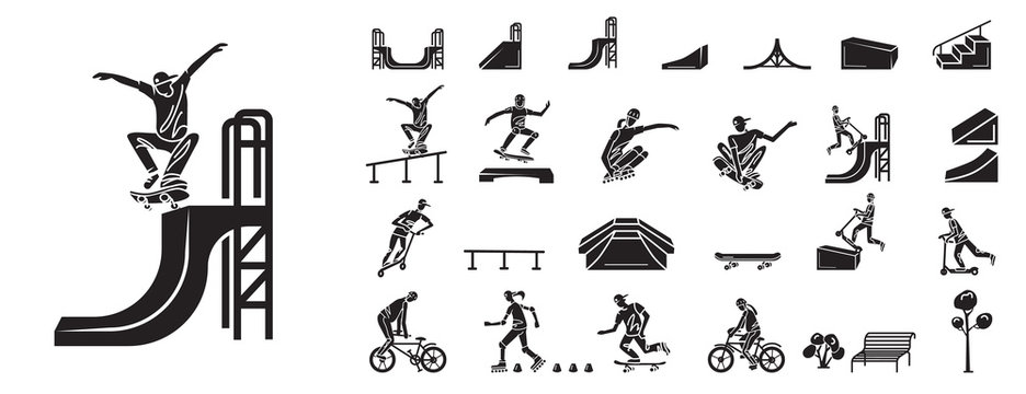 Skate park icons set. Simple set of skate park vector icons for web design on white background