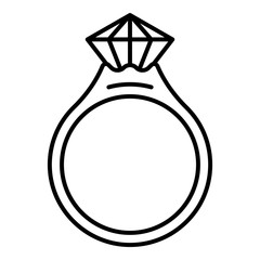Ruby ring icon. Outline NAME vector icon for web design isolated on white background