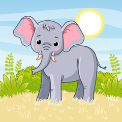 Elephant stands in the savannah. Vector illustration.