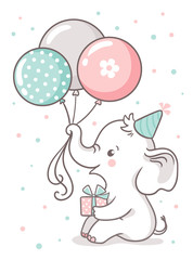 Cute baby elephant sits and holds a balloon balloons. Greeting card with a cute cartoon animal