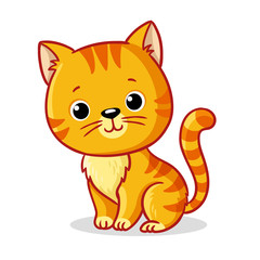 Ginger kitten sitting on a white background. Cute animal in cartoon style.