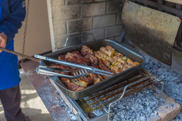Cooking of grilled pork