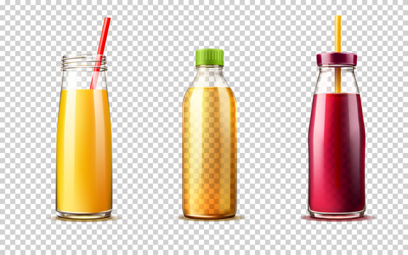 Realistic glass bottle with grape, orange juice and lemonade set. Vector fresh drink containers with straw. Beet vegetable, currant drink package design. Healthy 3d beverage full of vitamins.