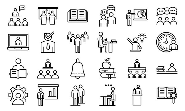 Lecture class icons set. Outline set of lecture class vector icons for web design isolated on white background