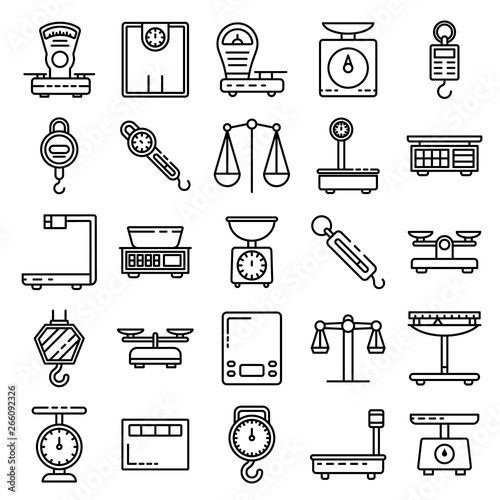 Weigh scales icons set  Outline set of weigh scales vector icons for