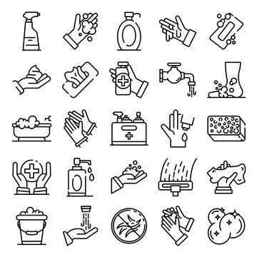 Sanitation icons set. Outline set of sanitation vector icons for web design isolated on white background
