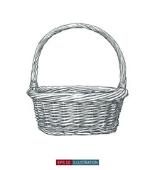 Obraz Hand drawn wicker basket. Engraved style vector illustration. Template for your design works. - fototapety do salonu