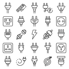 Plug wire icons set. Outline set of plug wire vector icons for web design isolated on white background