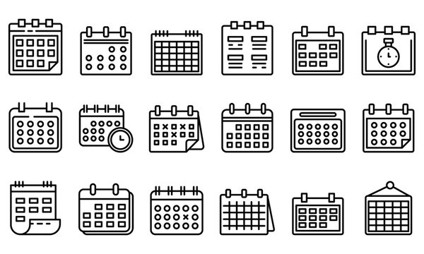 Calendar icons set. Outline set of calendar vector icons for web design isolated on white background