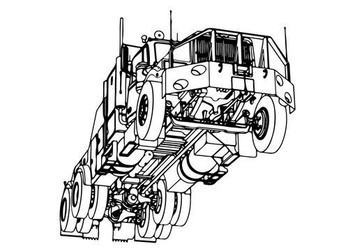 sketch road truck vector