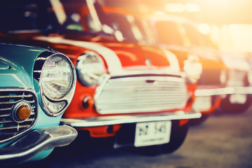 Classic Old Cars with colorful,Vintage retro effect style pictures.