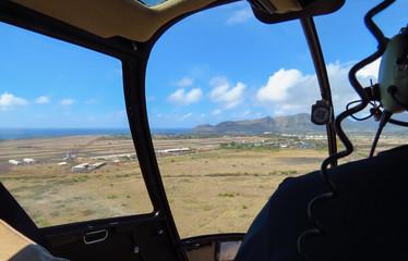 Helicopter returning to Lihue airport, Kauai, Hawaii, USA