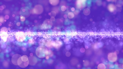 Abstract purple color digital particles with bokeh background