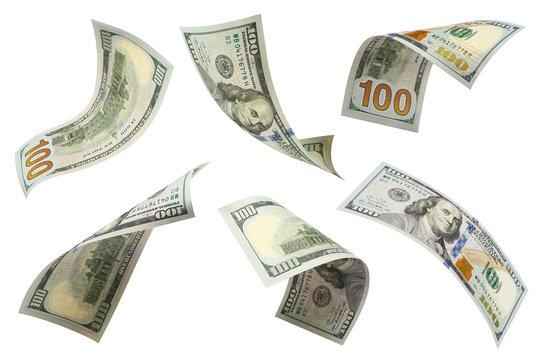 Set of flying 100 dollars banknotes, isolated on white background