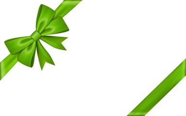 Ribbon bow for gift, isolated white background. Satin design festive frame. Decorative Christmas, Valentine day card, present holiday decoration. Birthday shiny silk ribbon bow. Vector illustration